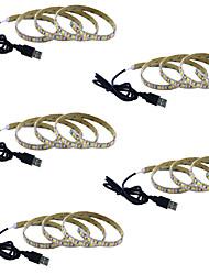 billige -1m Fleksible LED-lysstriper 60 LED 5050 SMD Varm hvit / Hvit / Rød Kreativ / Fest / Dekorativ 5 V 5pcs