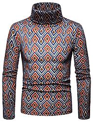 Недорогие -Муж. Геометрический принт / Контрастных цветов Длинный рукав Пуловер, Вырез под горло Осень / Зима Черный / Оранжевый US36 / UK36 / EU44 / US38 / UK38 / EU46 / US42 / UK42 / EU50