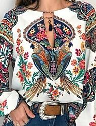 Недорогие -Жен. С принтом Рубашка Классический Геометрический принт Белый
