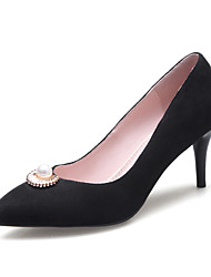 cheap -Women's Heels Stiletto Heel Pointed Toe Imitation Pearl PU Business / British Spring &  Fall Black / Red / Pink / Wedding / Party & Evening