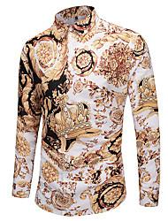 Недорогие -Муж. С принтом Размер ЕС / США - Рубашка Классический 3D / Этно Золотой / Длинный рукав