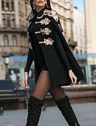 Недорогие -Жен. Повседневные Длинная Пальто, Однотонный Воротник-стойка Длинный рукав Полиэстер Черный