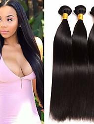 Недорогие -3 Связки Бразильские волосы Прямой Натуральные волосы Накладки из натуральных волос 8-28 дюймовый Естественный цвет Ткет человеческих волос Удлинитель Лучшее качество Расширения человеческих волос