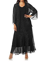Недорогие -Из двух частей V-образный вырез До щиколотки Шифон Платье для матери невесты с Аппликации / Рюши / сборки от LAN TING Express