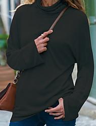 abordables -Tee-shirt Femme, Couleur Pleine Basique Noir