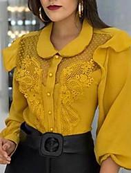 billige -Skjorte Dame - Ensfarget Gul