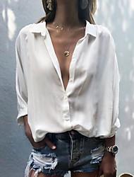 billige -Skjorte Dame - Ensfarget Grunnleggende Svart