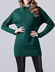 abordables -Femme Couleur Pleine Manches Longues Pullover, Col Arrondi Rouge / Vert / Gris Foncé Taille unique