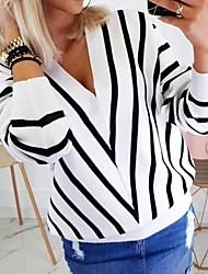Недорогие -Жен. Полоски Длинный рукав Пуловер, V-образный вырез Черный / Белый / Бежевый S / M / L