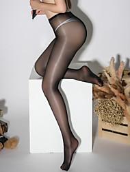 Недорогие -Жен. Тонкая ткань Колготы - Однотонный 30D Черный Винный Белый Один размер