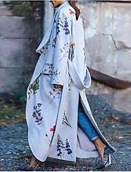 Недорогие -Жен. Повседневные Длинная Пальто, Растения Воротник-стойка Длинный рукав Полиэстер Светло-синий