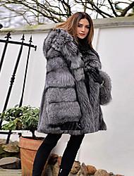 Недорогие -Жен. Для вечеринок / Повседневные Классический Зима Обычная Искусственное меховое пальто, Однотонный Капюшон Длинный рукав Искусственный мех Серый