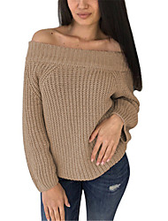 abordables -Femme Couleur Pleine Manches Longues Pullover, Epaules Dénudées Noir / Blanche / Rose Claire Taille unique