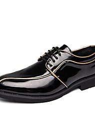 baratos -Homens Sapatos Confortáveis Couro Ecológico Outono Casual Oxfords Não escorregar Estampa Colorida Preto / Branco / Preto