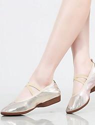 Недорогие -Жен. Танцевальная обувь Полотно Обувь для балета На плоской подошве На плоской подошве Персонализируемая Золотой / Серебряный