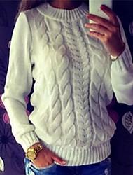 Недорогие -Жен. Повседневные Уличный стиль Скрученный Однотонный Длинный рукав Обычный Пуловер, Круглый вырез Белый / Темно-серый / Серый M / L / XL