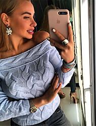 abordables -Femme Couleur Pleine Manches Longues Pullover, Epaules Dénudées Noir / Bleu clair / Blanche Taille unique