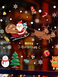 Недорогие -рождество санта олень оконная пленка&усилитель; наклейки украшения с рисунком / рождественские геометрические / символ пвх (поливинилхлорид) наклейка окна / дверная наклейка