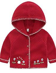Недорогие -Дети Девочки Уличный стиль С принтом Длинный рукав Свитер / кардиган Красный