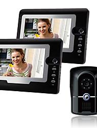 Недорогие -проводной 7-дюймовый громкой связи 800 * 480 пикселей один-два видео домофон дверной звонок домофон 1/4 дюйма цветной датчик cmos наружный блок настенный