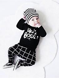 Недорогие -малыш Мальчики На каждый день / Активный С принтом С принтом Длинный рукав Обычный Набор одежды Черный