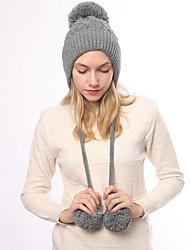 Недорогие -Жен. Классический Широкополая шляпа Акрил,Однотонный Зима Черный Белый Розовый