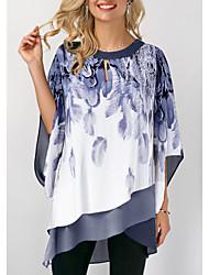 billige -T-skjorte Dame - Geometrisk Blå