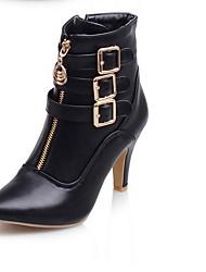 Недорогие -Жен. Ботинки На низком каблуке Заостренный носок Полиуретан Ботинки Лето Черный / Белый / Красный