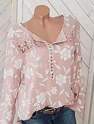 Недорогие -Жен. С принтом Блуза Цветочный принт Черный / Весна / Осень