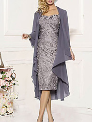 Недорогие -Жен. Из двух частей Платье - Однотонный До колена