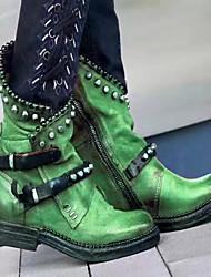 Недорогие -Жен. Ботинки Блочная пятка Круглый носок Полиуретан Сапоги до середины икры Наступила зима Черный / Лиловый / Зеленый
