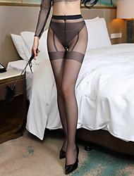 Недорогие -Жен. Тонкая ткань Сексуальные платья Колготы - Однотонный 30D Черный Красный Бежевый Один размер