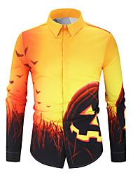 Недорогие -Муж. Пэчворк / С принтом Рубашка Классический / Уличный стиль Контрастных цветов Желтый