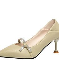 abordables -Femme Chaussures à Talons Kitten Heel Bout pointu Polyuréthane Minimalisme Automne Noir / Vert / Beige