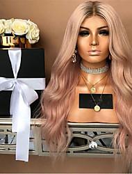 Недорогие -Парики из искусственных волос Кудрявый Стиль Средняя часть Машинное плетение Парик Розовый Розовый Искусственные волосы 22 дюймовый Жен. Для вечеринок Розовый Парик Длинные