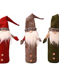 Недорогие -Рождество шампанское винная крышка бутылки плюшевые шляпу набор бутылок санта-семейная вечеринка украшение стола рождественские подарки