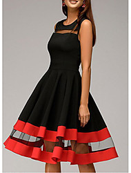 Недорогие -Жен. Большие размеры Для вечеринки Тонкие Оболочка Платье - Однотонный До колена