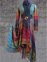 Недорогие -Жен. Повседневные Обычная Пальто, Геометрический принт V-образный вырез Длинный рукав Полиэстер Лиловый / Оранжевый / Желтый