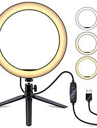 Недорогие -ZDM 1 комплект 6.3 селфи кольцо с подставкой для штатива затемняемый настольный светодиодный фонарь для фотоаппарата для фонаря в прямом эфире / макияж / видео / фотография usb 5v
