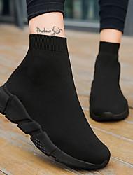 Недорогие -Жен. Спортивная обувь На плоской подошве Круглый носок Полотно Беговая обувь Наступила зима Черный / Черно-белый / Синий