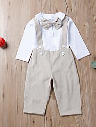 billige -Baby Gutt Aktiv / Grunnleggende Svart og hvit / Svart / Hvit Ensfarget Sløyfe / Blondér Langermet Normal Normal Tøysett Svart