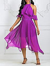 Недорогие -Жен. С летящей юбкой Платье - Однотонный Хальтер Ассиметричное
