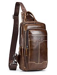 Недорогие -Муж. Молнии Воловья кожа Слинг сумки на ремне Сплошной цвет Коричневый / Кофейный