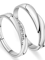 Недорогие -Мода дешевые пара кольцо серебряный цвет 2 шт. регулируемый горный хрусталь женские кольца мужские кольца свадебные кольца любителей ювелирных изделий