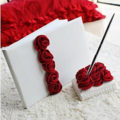 赤バラ飾り☆結婚式芳名帳とペンセット