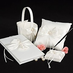 cheap Wedding Collection Sets-Garden Theme Collection Set With Faux Pearl Bow Satin Wedding Ceremony