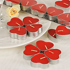 Heart-Shaped Red Tealight Candles (Set of 7 Boxed) Wedding Favors