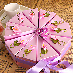 cheap Cake Boxes-Round Square Pyramid Pearl Paper Favor Holder with Ribbons Printing Flower Favor Boxes - 10
