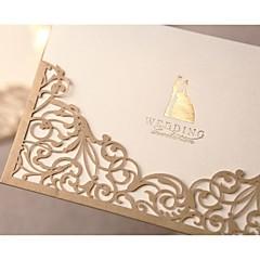 """baratos Convites de Casamento-Embrulhado e de Bolso Convites de casamento Cartões de convite Estilo Formal Estilo Clássico Estilo Noiva e Noivo Papel Pérola 6 ½""""×4 ½"""""""