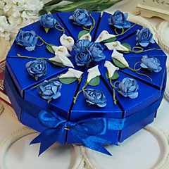 cheap Cake Boxes-Pyramid Card Paper Favor Holder with Ribbons Flower Favor Boxes - 10